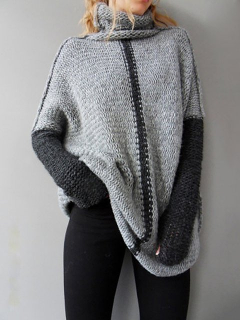 ae0e5297229 Solid Long Sleeve Knitted Turtle Neck Sweater - JustFashionNow.com