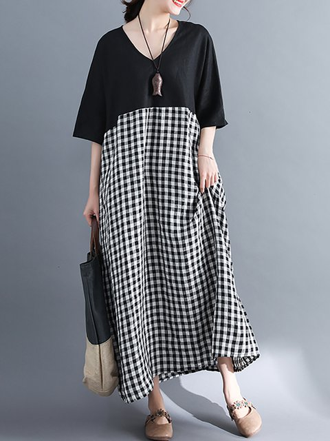 V neck  Cocoon Women Daytime Batwing Basic Paneled Checkered/Plaid Casual Dress