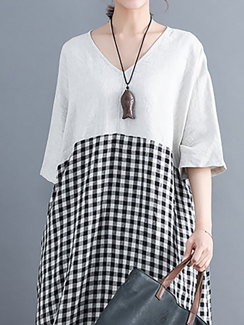 Paneled Daytime Cocoon Basic V Dress Casual Checkered Batwing Women neck Plaid nqBtnWwHY