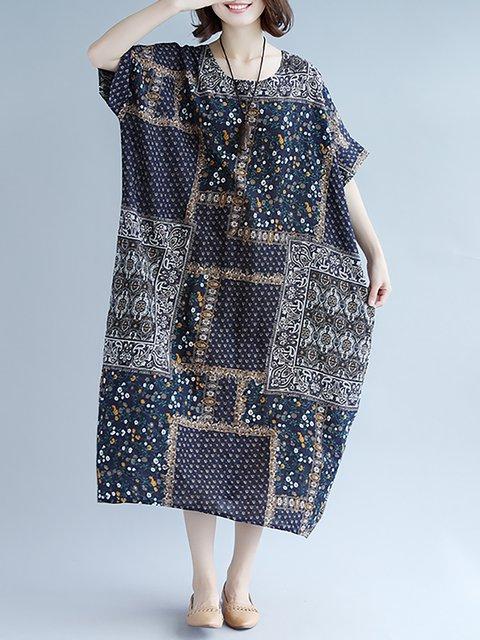 Half Casual Patchwork Daily Women Shift Printed Sleeve Gray Dress atTPwz