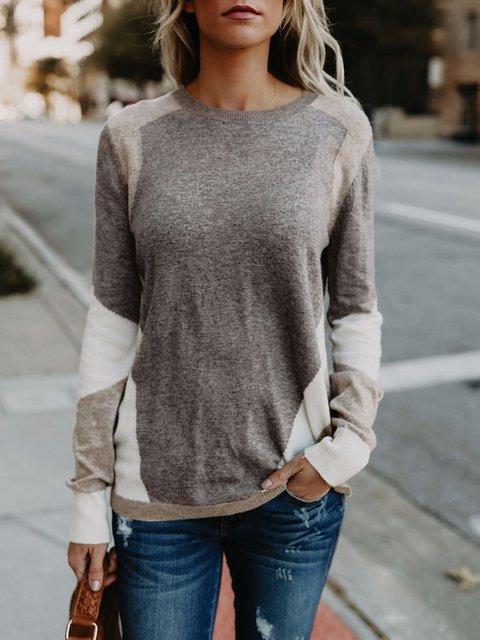 Gray Paneled Geometric Crew Neck Winter Sweater