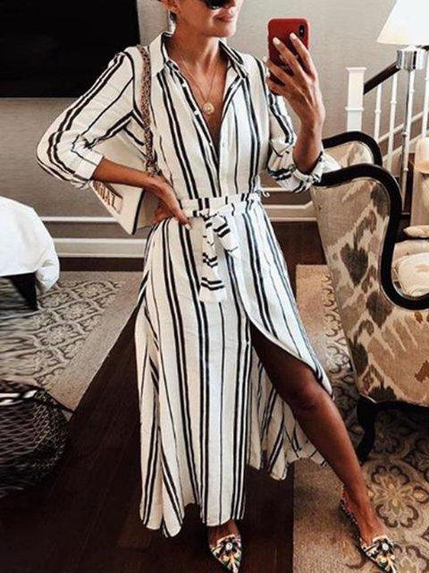 Shirt Collar White Shift Women Long Sleeve Casual Slit Striped Spring Dress