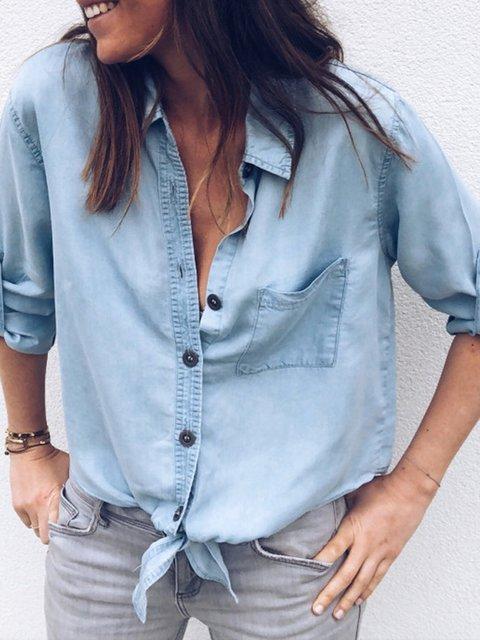 Shirt Collar Solid Long Sleeve Casual Shirts