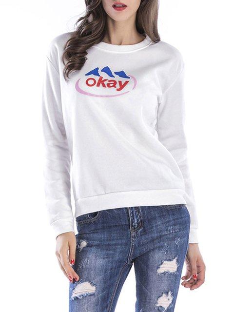 Casual Crew Neck Paneled Long Sleeve Letter Printed Cotton Sweatshirts  Hoody
