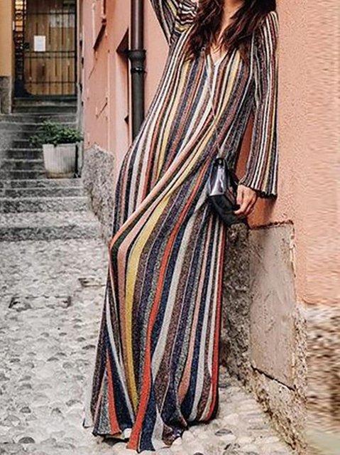 V neck Multicolor Shift Women Daily Cotton Long Sleeve Basic Paneled Striped Spring Dress