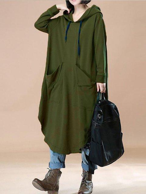 Hoodie  Shift Women Daily Long Sleeve Basic Paneled Plain Casual Dress