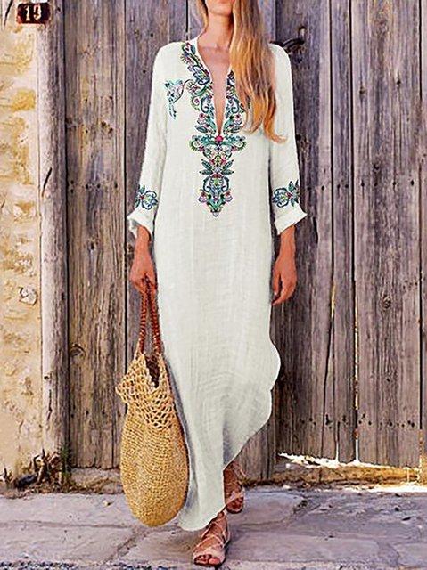 Stand Collar Light_green Women Beach Long Sleeve Holiday Tribal Casual Dress