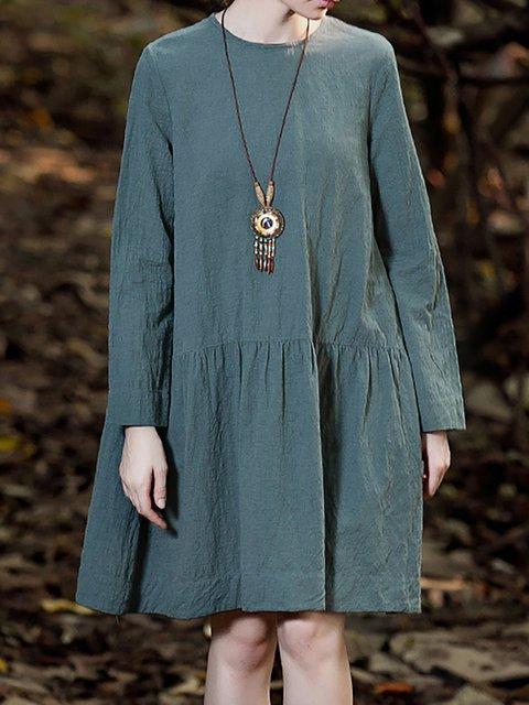 A Women Sleeve line Long Casual Paneled Cotton Daily Dress Plain vrHr5wxq