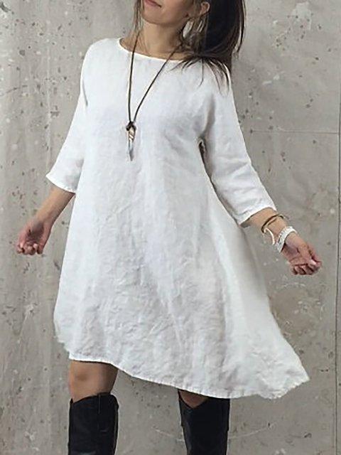 3 Dress Plain Cotton Shift Women Sleeve Daily Summer 4 1qgwt8Fwx