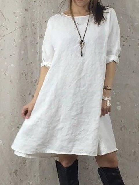 Shift Women Daily Cotton 3/4 Sleeve  Plain Summer Dress