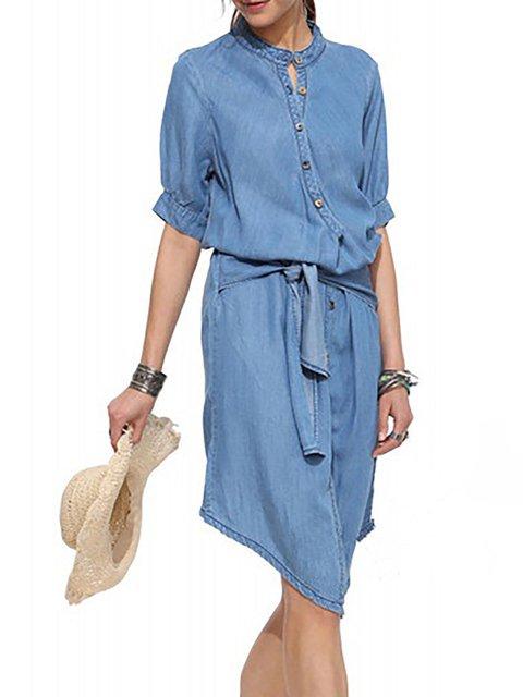 Sleeve Statement blue Daily Paneled Denim Turtleneck Women Summer Half Dress Light Plain RaRnX