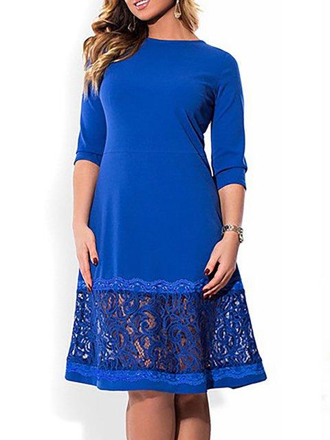 Half Plain Summer Sleeve Dress Women Shift Daily Basic qUxzPEppw