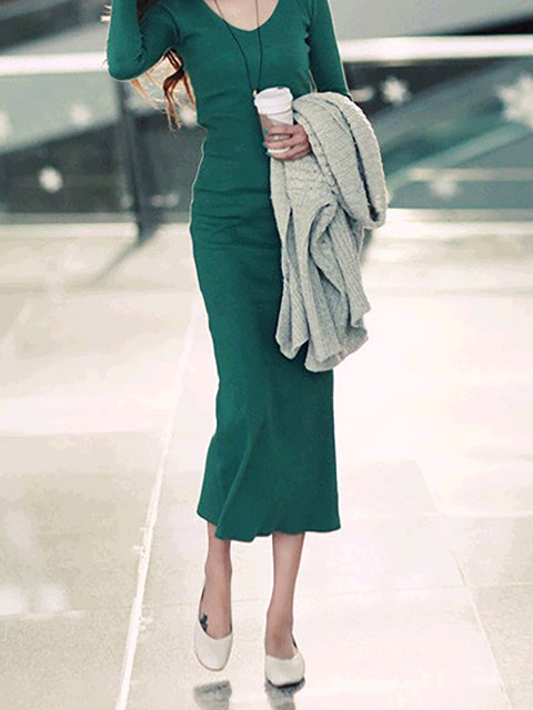 neck Bodycon Paneled Long Sleeve Casual Women Dress Cotton Plain V T6qdwB6