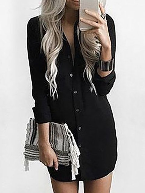 Shawl Collar  Shift Women Daily Long Sleeve Basic Paneled Plain Spring Dress