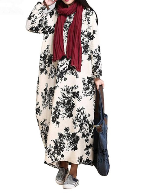 Women Casual Paneled Long Basic Sleeve Daily Floral Cocoon Dress fpUn17n