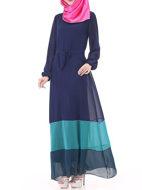 Navy Blue Daily Women Statement Elegant Chiffon Dress rrzqdw6