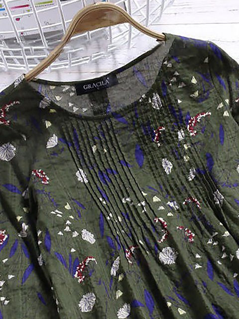 Sleeve Floral 4 Casual Crew Shirt 3 Printed Neck Paneled T FqSYx