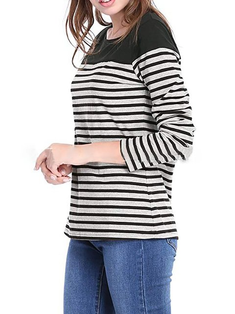 Paneled Sleeve 3 4 Neck Casual Cotton Striped Crew Shirt T qP6tRnc