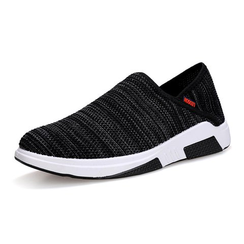 Men Knitted Fabric Breathable Collapsible Heel Casual Sneakers