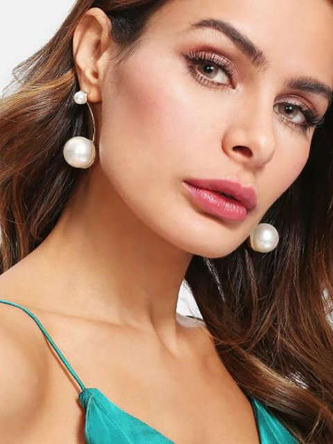 Womens Alloy Pearl Earrings