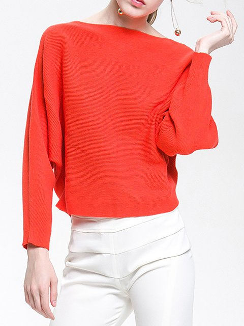 Solid Batwing Paneled Bateau/boat neck Asymmetric Chic Sweater
