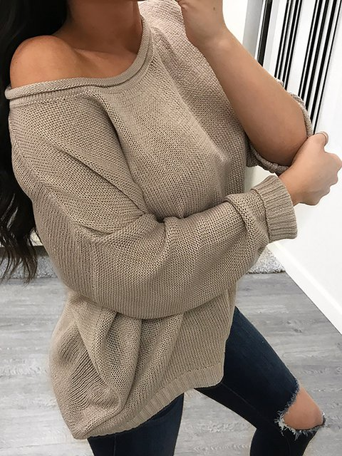 Crew Neck Long Sleeve Casual Solid Knitted Sweater