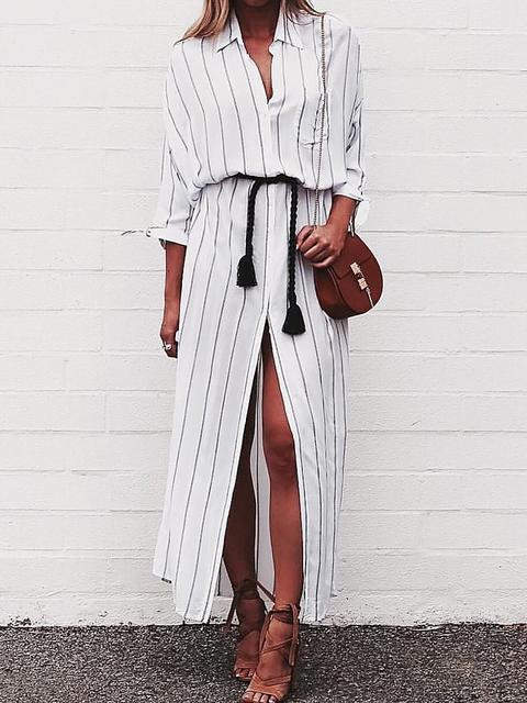 Collar Shirt Long Shift Fall Casual Dress Cotton White Slit Sleeve Women F66dw