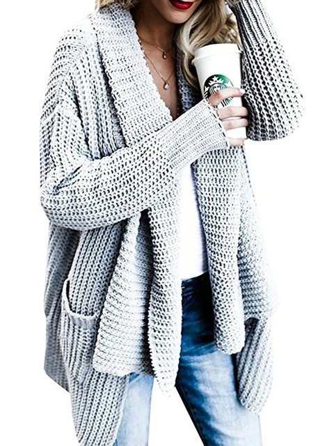 Shawl Collar Casual Winter Knitted Solid Cardigan