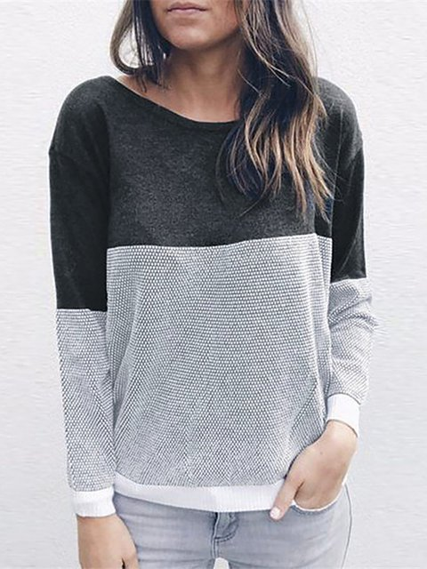 Long Sleeve Backless Solid Crew Neck Casual Sweater