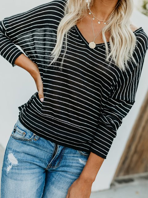 Striped Long Sleeve V neck Casual Cotton T-Shirt