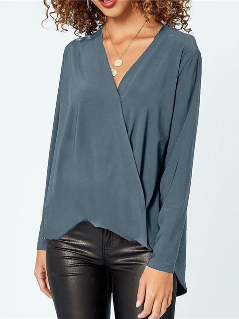 Casual Long Sleeve Solid V neck Blouse