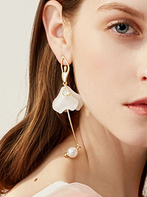 Womens Flowers Alloy Drop Earrings