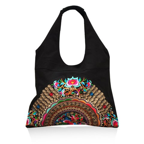 Women's Vintage Embroidery Canvas Shoulder Bags