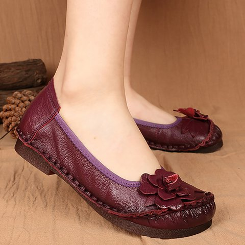 Women Flower Flats Casual Slip On High Quality Shoes