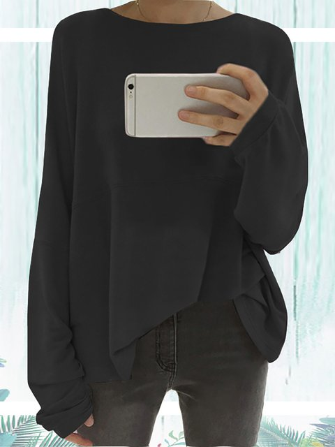 Long Sleeve Solid Elegant Paneled Round Neck Cotton Plus Size Chic Shirts  Blouse