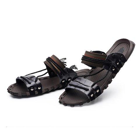 7c04db1e6120 Large Size Men Genuine Leather Flat Heel Slippers - JustFashionNow.com