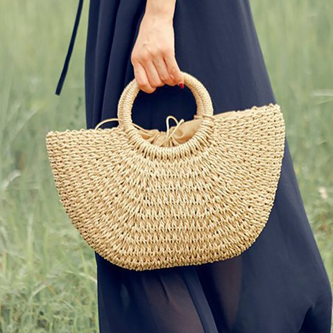 Women's Casual Beach Style Straw Bucket Shoulder Bags