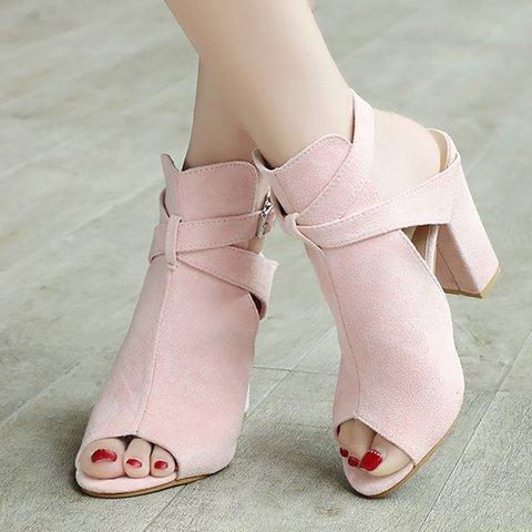 Womens Daily Buckle Chunky Heel Sandals