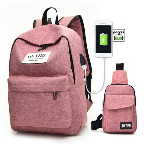 Women's 2PCS Canvas Casual USB Interface Charging Earphone Hole Backpacks
