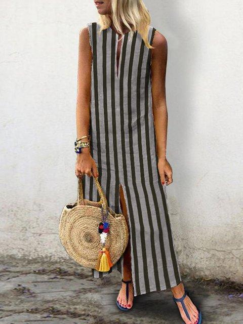 V neck Stripe Women Daytime Sleeveless Casual Slit Striped Summer Dress
