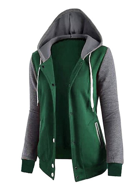 Hoodie Paneled Casual Long Cotton Jacket Sleeve 0OSYqng
