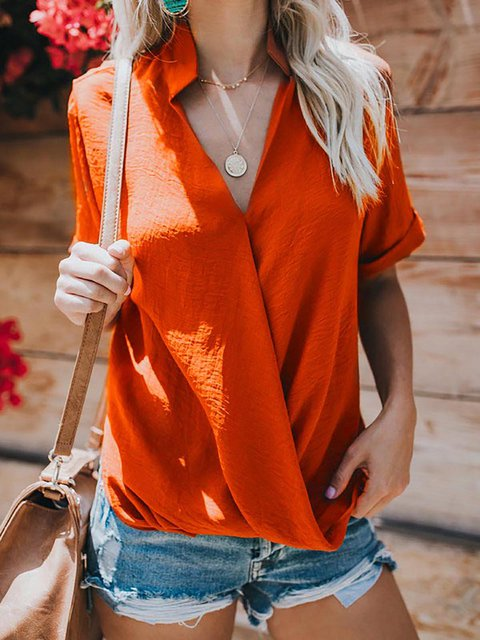 Solid Short Sleeve V neck Casual Blouse