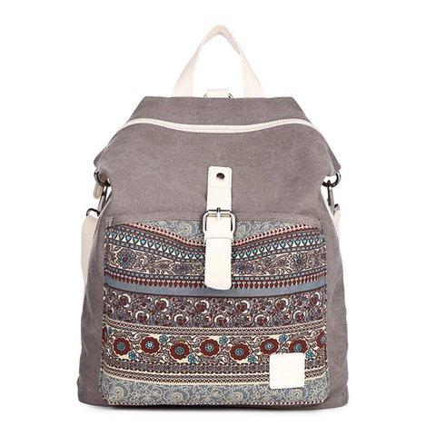 Women Canvas Anti-theft Light Weight Flower Zipper Backpacks