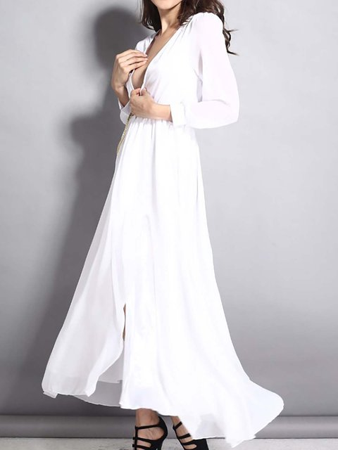 Plunging White Prom Dress Sleeve Women Long Daily Swing neck Casual rrnp85qwAx