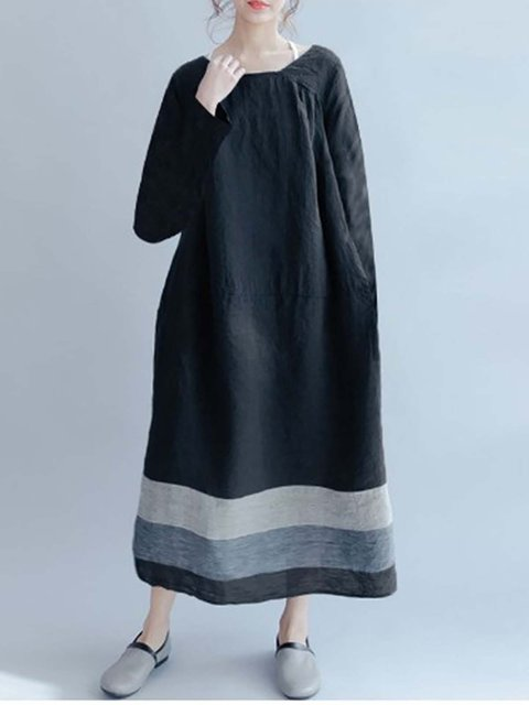 Shift Women Daily Long Sleeve Casual Striped Casual Dress