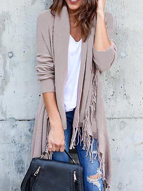 Fringed Solid Cotton Elegant Long Sleeve Cardigan