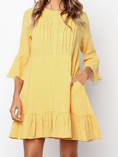 Women Daily Casual Frill Sleeve Buttoned Solid Spring Dress