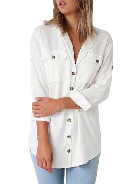 Sleeve Linen Pockets Elegant Long Blouse Shawl Collar pFn4xwxq