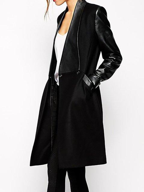 Black PU Long Sleeve Shawl Collar Chic Winter Coat