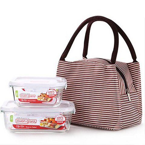Casual Picnic Thermal Insulation Polyester Zipper Lunch Box Bags